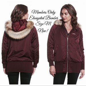 Members Only Elongated Bomber Jacket Burgundy M
